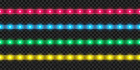Realistic LED strip set. Colorful glowing illuminated tape decoration. 向量圖像