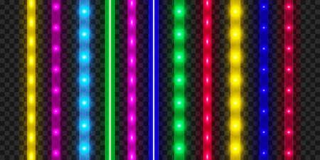LED strip set. Colorful glowing illuminated tape decoration. Realistic neon lights. 向量圖像