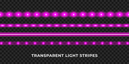 Purple LED strips set. Colorful glowing illuminated tape decoration. Realistic neon lights. Ilustracje wektorowe