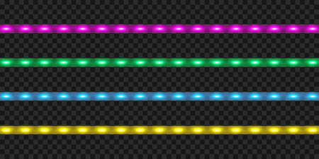 LED strip set. Colorful realistic illuminated tape decoration.