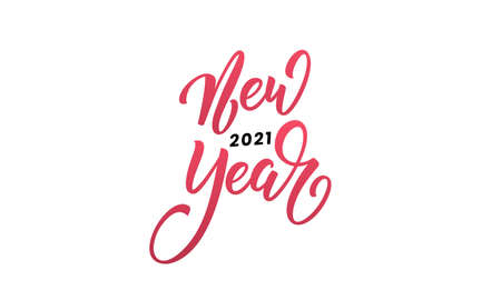 New Year 2021 Lettering calligraphy on white
