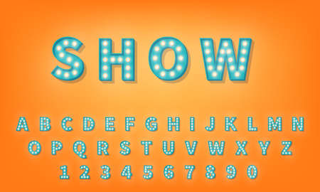 3d alphabet with light bulbs. Retro style typography typeface.
