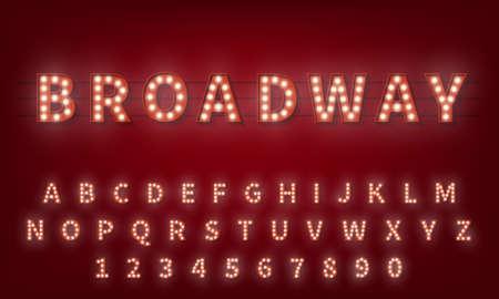 Light bulb alphabet. Broadway style 3d retro typography typeface.