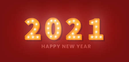 2021 Happy New Year. 3d gold marquee light bulb text for New Year celebration.