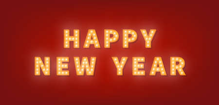 Happy New Year. 3d gold marquee light bulb text for New Year celebration. Vector Illustratie