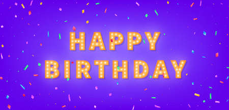 Happy Birthday card with gold marquee text and colorful confetti. 3d light bulb Happy Birthday greeting card. 向量圖像