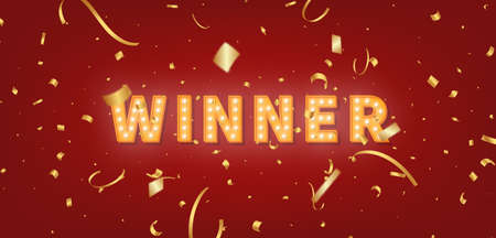 Winner gold marquee template. 3d light bulb text and confetti for Winner congratulations.