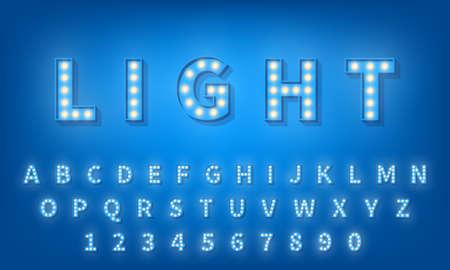 Light bulb font. Retro style 3d typography typeface alphabet.