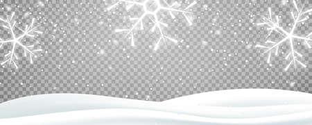 Snow landscape. Winter snowy transparent background overlay 向量圖像