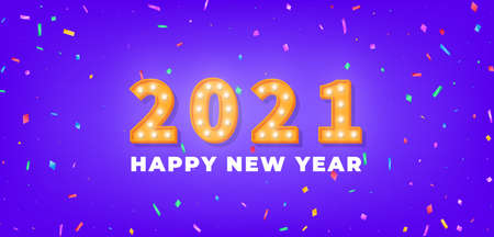 New Year 2021. 3d gold marquee light bulb text and colorful confetti for New Year celebration.