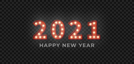 Happy New Year 2021. 3d red marquee light bulb text for New Year celebration.