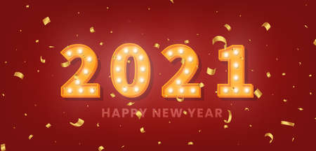 2021 Happy New Year. 3d gold marquee light bulb text and golden confetti for New Year celebration.