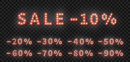 Sale marquee numbers template. 3d vector set of light bulb numbers. Promotion sale price set.