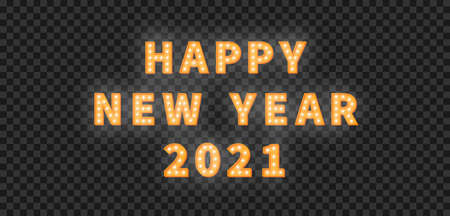 Happy New Year 2021. 3d gold marquee light bulb text for New Year celebration. 向量圖像