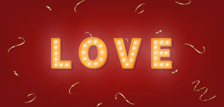 Love marquee text with gold confetti. 3d light bulb template for Valentines Day. 向量圖像