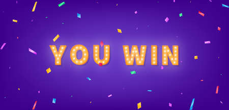 You win template. 3d marquee light bulb text for Winner congratulations.