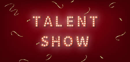 Talent Show. 3d marquee light bulb text for Talent Show. 向量圖像