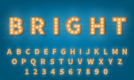 Retro light bulb font. Vintage style 3d retro typography typeface alphabet. 向量圖像