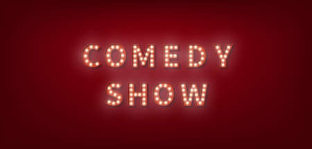 Comedy Show. 3d marquee light bulb text for Comedy Show. 向量圖像