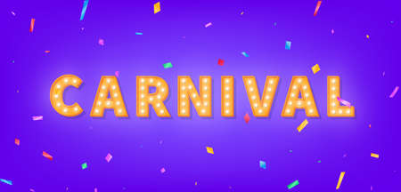 Carnival marquee 3d text. Banner with Carnival light bulb text and colorful confetti. 向量圖像