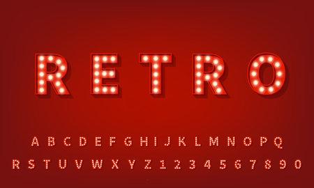 Retro 3d typography font. 3d light bulb alphabet.