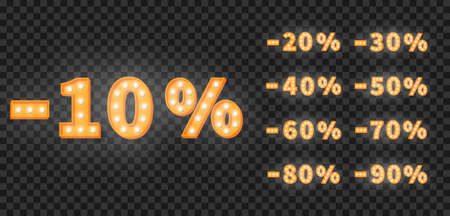 Marquee numbers sale discount set. 3d vector set of gold light bulb numbers. Promotion sale price template. 向量圖像
