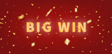 Big Win gold marquee text. 3d light bulb text and confetti for Winner congratulations.