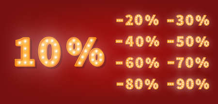 Sale discount marquee numbers. 3d vector set of gold light bulb numbers. Promotion sale price template.