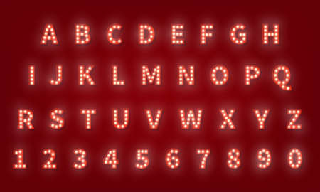 Broadway retro typography font. 3d light bulb alphabet.