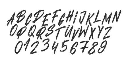 Hand drawn font typeface. Lettering brush alphabet. Vector uppercase letters and numbers.