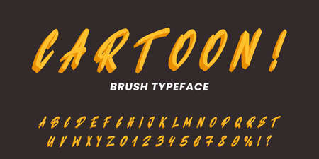 Cartoon typeface alphabet. Hand drawn vector brush font.