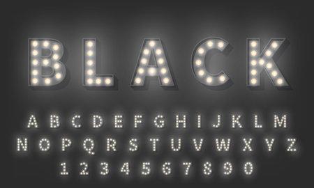 3d Light bulb alphabet. Dark style 3d retro typography typeface.