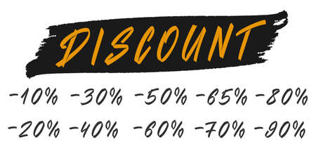 Sale numbers labels. Hand drawn discount tag labes.