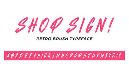 Headline font. Vector retro brush typeface design.