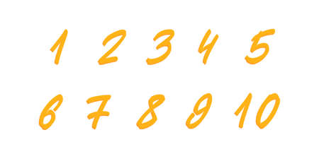 Hand drawn numbers set. Vector brush lettering numbers.