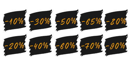 Sale numbers tags with brush stroke. Hand drawn discount labes numbers. 向量圖像