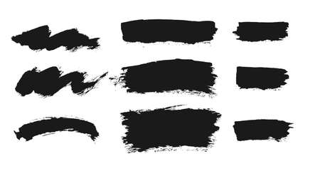 Brush vector set. Collection of freehand grunge ink elements.
