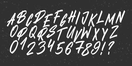 Hand drawn brush typeface. Lettering brush font alphabet. Vector uppercase letters, numbers and punctuation.