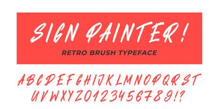 Sign painter font. Vector retro brush typeface alphabet. 向量圖像