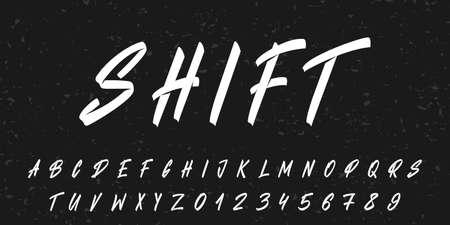 Hand drawn lettering font. Vector retro brush typeface alphabet . 向量圖像