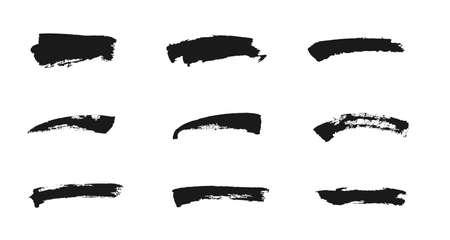 Brush strokes of black ink. Freehand drawing elements. Vector grunge paintbrush set.