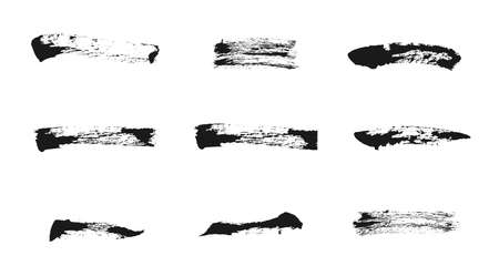 Ink brush strokes collection. Freehand drawing elements. Vector grunge paintbrush set.