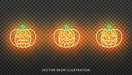 Halloween neon Jack O Lantern sign. Set of bright Pumpkin for Halloween.