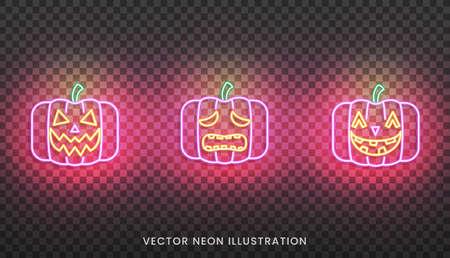 Halloween neon pumpkins sign. Set of bright Jack O Lantern for Halloween.