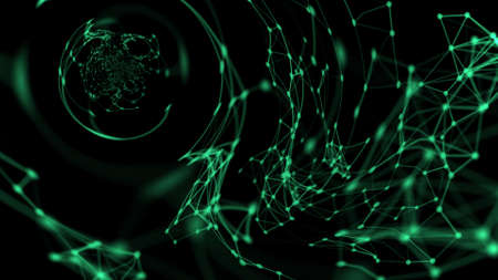Composition of spheres green curved lines and points on a black background. Futuristic abstract blurred space composition. 3D rendering.