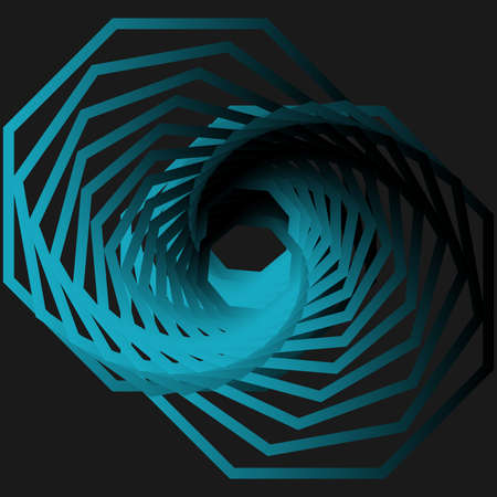 Twisted abstract wireframe tunnel. Science and technology vector illustration. Ilustracja