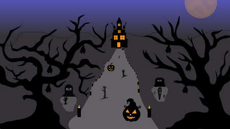 Halloween pumpkins and castle illustration. Halloween night celebration. Style composition Background Halloween. Old haunted house surrounded by silhouettes of trees with the big moon. Vector llustration.