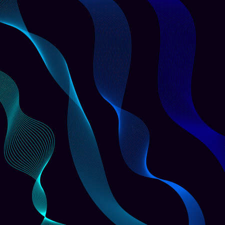 Abstract flowing ribbons of different colors. Wave of the many colored lines. Design elements. Abstract wavy stripes on dark, isolated background. Vector illustration