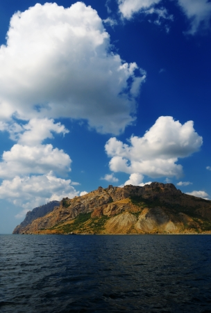 The famous natural reserve of Karadag - volcanic massif in the Crimea, on the Black sea photo