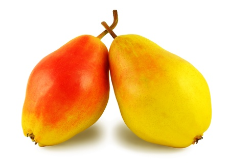 rely: Two yellow-red sweet pears rely on each other, isolated on a white background Stock Photo